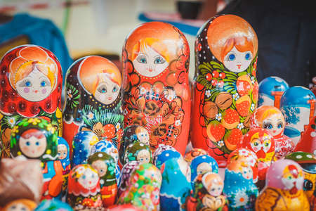 picturesque goods at a fair: Russian painted dolls