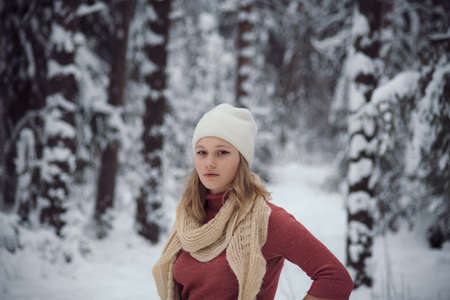 walks outdoors: the girl walks on the winter forest