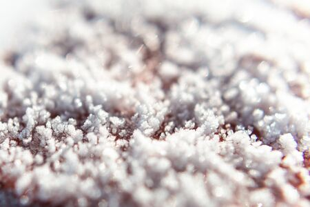 top view: texture of frozen ice floes in winter, snow background
