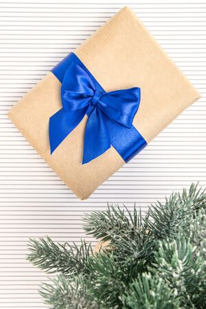 Gift in craft paper with blue ribbon and bow-knot, branches of spruce on a white background.