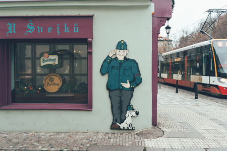 Czech Republic, Prague - December 25, 2018: Sign cafe at Schweik in Prague