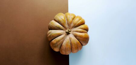 A huge textured pumpkin in the center of a symmetrical banner with place for text. Banco de Imagens