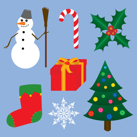 Christmas symbols on the blue background. Vector