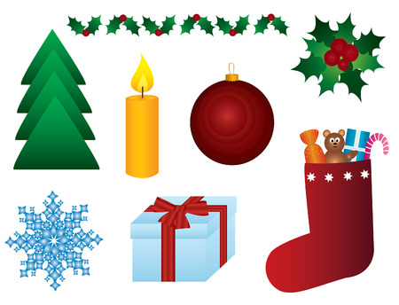 Christmas symbols on the white background. Vector