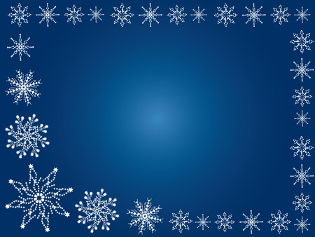 Winter background. White snowflakes on a blue background. Illustration