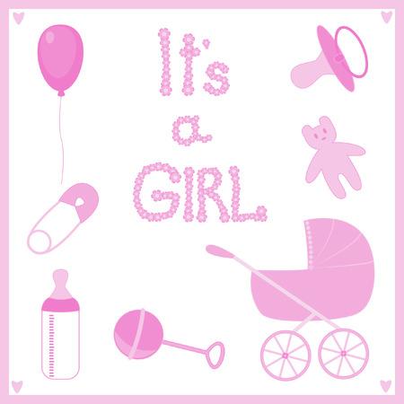 Se trata de una niña. Conjunto de temas para el recién nacido.  Ilustración de vector