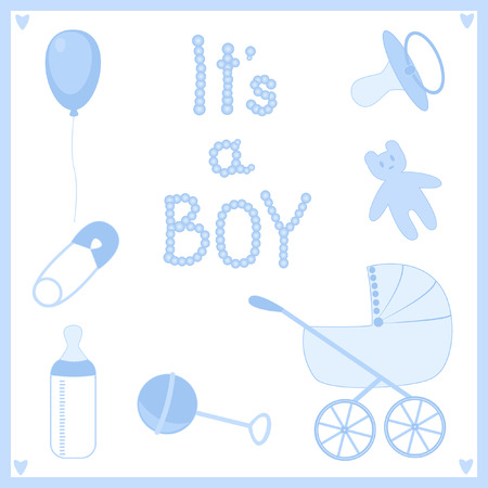 Its a boy. Set of subjects for the newborn. Illustration