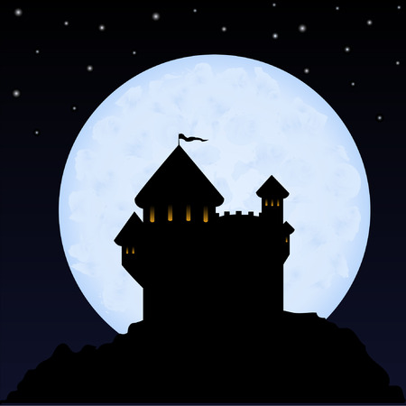 turret: Castle on a background of the night sky and the moon
