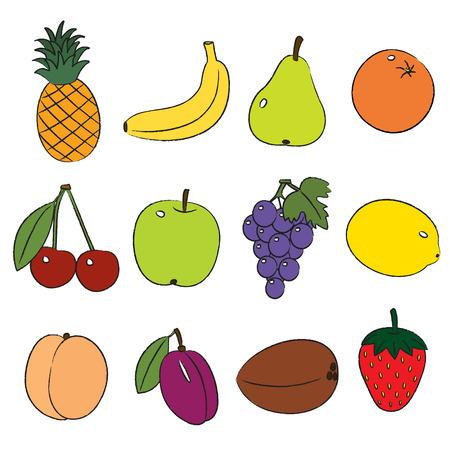 Fruits, clip-art on a white background. Illustration