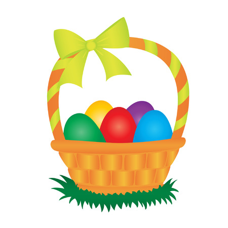 easter basket with coloured eggs