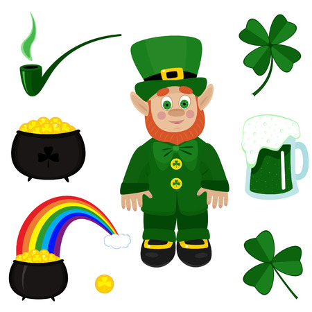 lucky day: St. Patricks Day clip-art on white background.