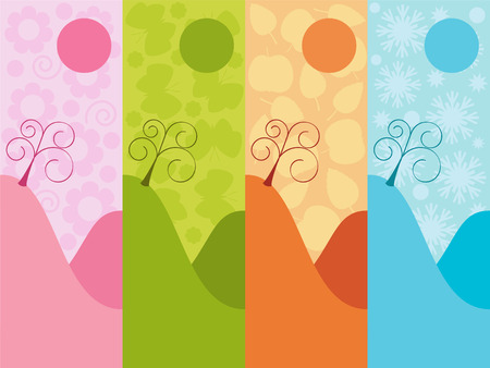 Seasons 2 : spring, summer, autumn, winter. Vector