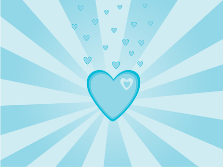 Valentines day background, blue and white hearts Illustration