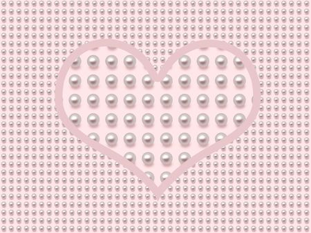 Pearl heart on pink background with pearls