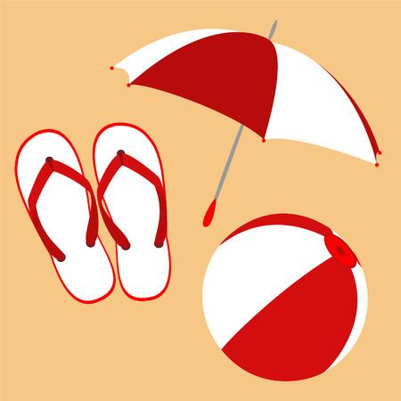 Flip flops, umbrella and ball Illustration