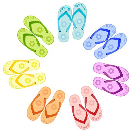 flip flop: Flip flops colors of a rainbow