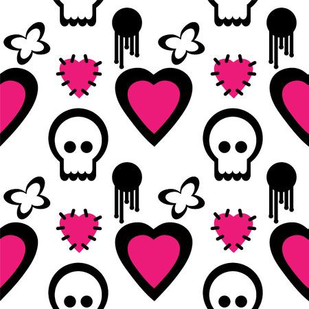 emo: Emo ontwerp elementen op wit Stock Illustratie