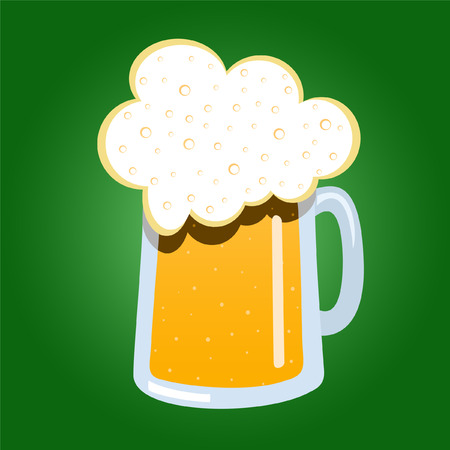 Mug of beer on green Vector