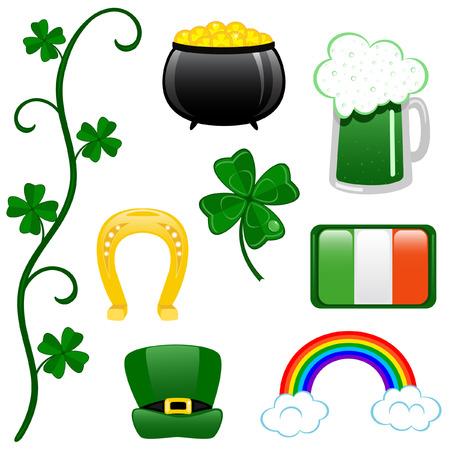 St. Patricks Day clip-art on white background.