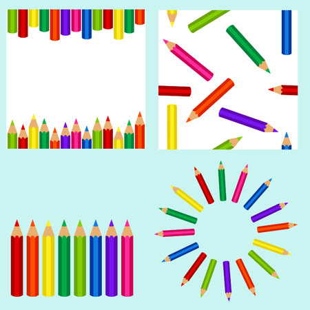 Set with pencil: background, seamless background, pencils