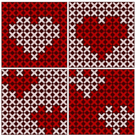 Embroidery of hearts, seamless background Vector