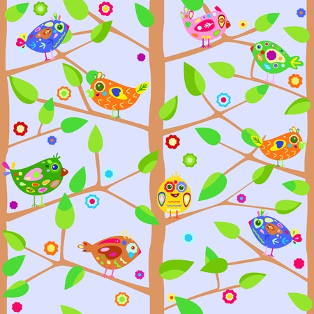 Seamless background with trees and birds