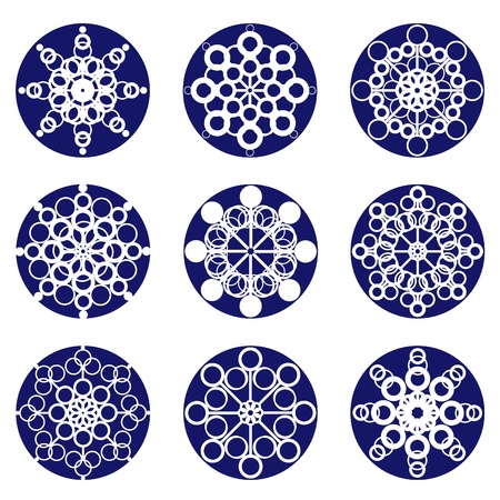Nine snowflakes, blue on white
