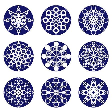 Nine snowflakes, blue on white