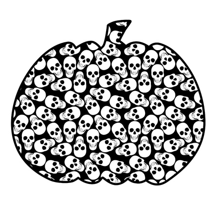 Halloweens pumpkin with a pattern from skulls Illustration