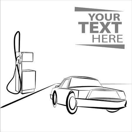 refueling: Hand draw car near automotive refueling Illustration