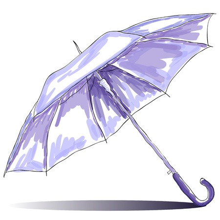 Sketch watercolor open umbrella with shadow  illustration Outline  Ilustração