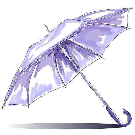 Sketch watercolor open umbrella with shadow  illustration Outline Banco de Imagens - 25311069