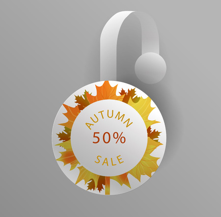 wobbler: Vector wobbler mockup with transparent strip.Template for your hanging shelf tag design.Autumn sale design for print.Maple Leaves.