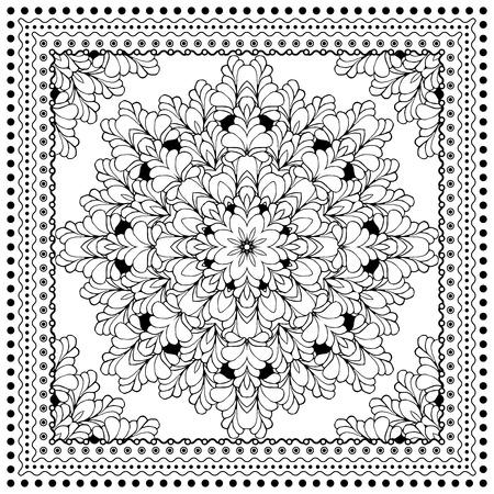silk scarf: Black Bandana Print design. Fabric pattern for silk scarf. Border vector ornaments.