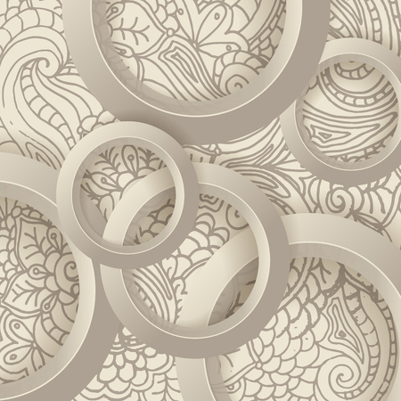 digital illustration: Abstract 3D vector geometric background made of  beige circles, or rings and doodle style ornament backdrop