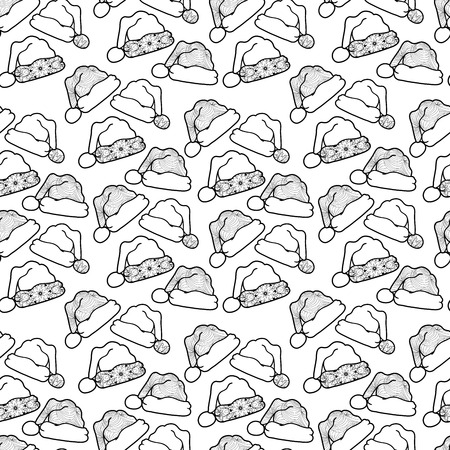 mono print: Seamless black mono color pattern with santas hats for print design or page decoration. Illustration