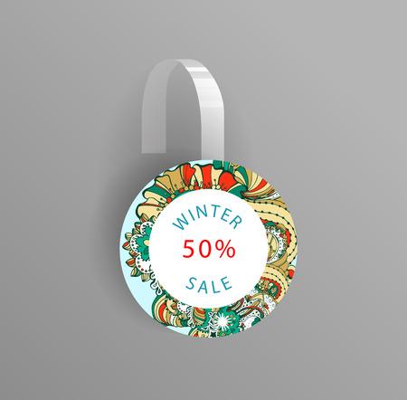 wobbler: Vector wobbler mockup with transparent strip.Template for your hanging shelf tag design.Winter doodle style  sale design for print. Illustration