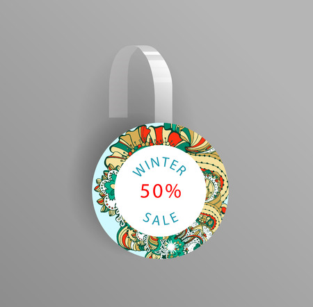 advertising wobbler: Vector wobbler mockup with transparent strip.Template for your hanging shelf tag design.Winter doodle style  sale design for print. Illustration