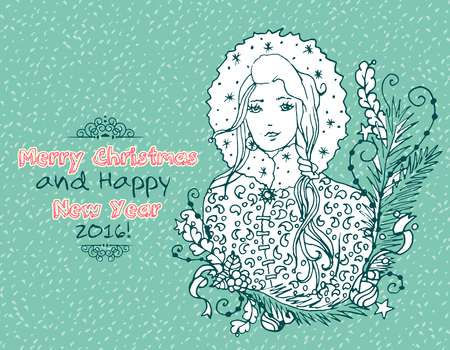 snow maiden: Vintage Merry Christmas doodles card with Snow Maiden lady, hand-written text. Illustration