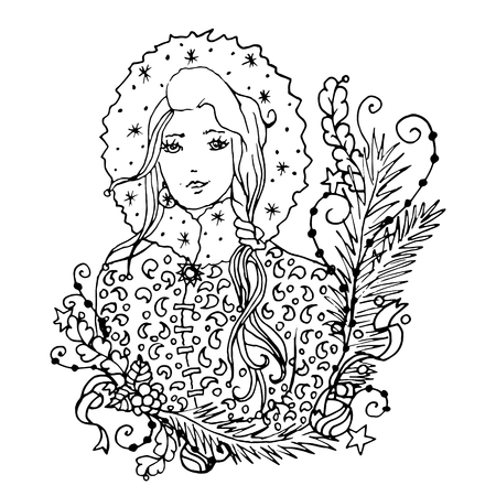 mono print: Black vector mono color illustration with Snow Maiden lady for Merry Christmas and Happy New Year 2016 print design. Coloring book page design for adults or kids. Vector template. Illustration