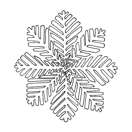 snoflake: Black vector mono color illustration with Snoflake for Merry Christmas and Happy New Year 2016 print design. Coloring book page design for adults or kids. Vector template.