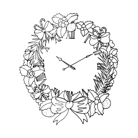 mono print: Black vector mono color illustration with christmas wreath for Merry Christmas and Happy New Year 2016 print design. Coloring book page design for adults or kids. Vector template.