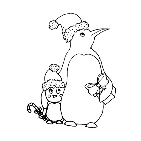 mono print: Black vector mono color illustration with penguins family for Merry Christmas and Happy New Year 2016 print design. Coloring book page design for adults or kids. Vector template.