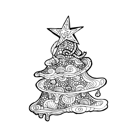 mono print: Black vector mono color illustration for Merry Christmas and Happy New Year 2016 print design. Coloring book page design for adults or kids. Vector template. Illustration