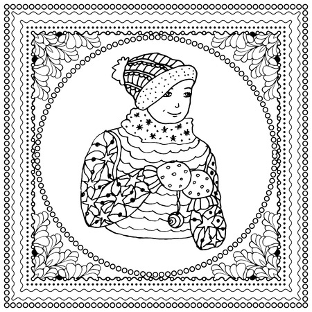 mono print: Black vector mono color illustration for Merry Christmas and Happy New Year 2016 print design. Coloring book page design for adults or kids. Vector template.Ornamental border and frame