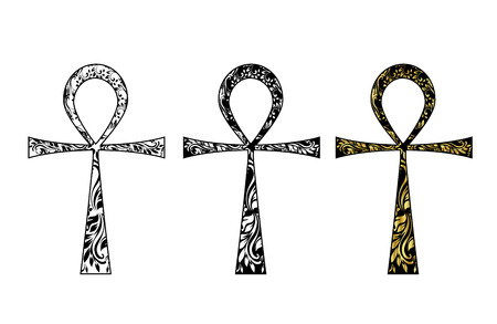 ankh cross: Ankh Symbol. Vector Egyptian Cross isolated on white. Black, white and gold icon set.