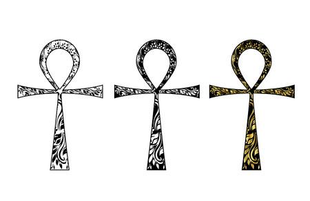 ankh: Ankh Symbol. Vector Egyptian Cross isolated on white. Black, white and gold icon set.