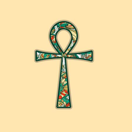 ankh cross: Ankh Symbol. Vector Egyptian Cross with Decorative style Ornament