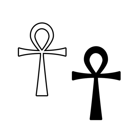ankh cross: Ankh Symbol. Vector Egyptian Cross isolated on white. Black and white