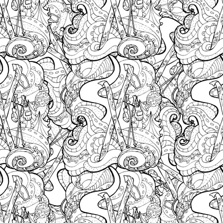 mono print: Seamless pattern for print textile design or paper wrapping.Merry Christmas style, ski equipment in the snow